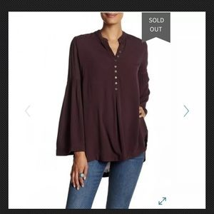Free People Easy Girl Bell Sleeve Tunic Blouse M
